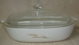 """Corning Ware Gold Wheat Casserole with Lid 10"""" W-10-B , Vintage  - $29.69"""
