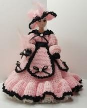 "Beautiful Hand Crocheted Pink & Black Victorian Doll Dress 15"" doll - $18.79"