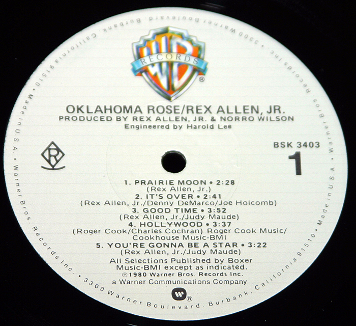 "Rex Allen Jr. ""Oklahoma Rose"".  BSK-3403.  LP"