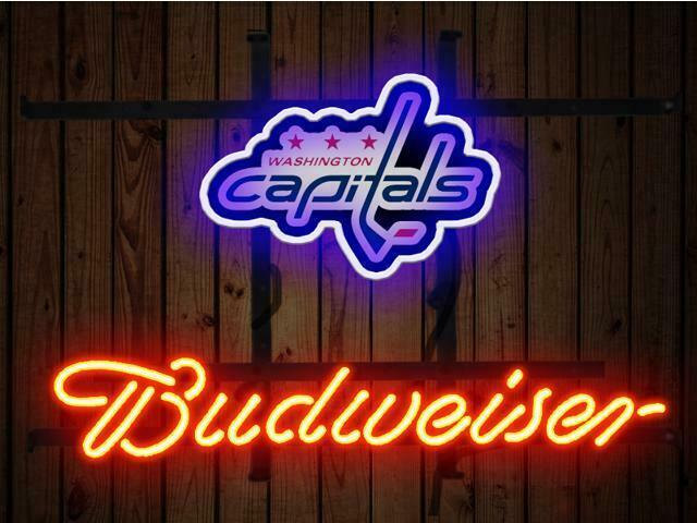 "Budweiser Washington Capitals Bud Neon Sign 14""x10"" Beer Bar Light Artwork Man"