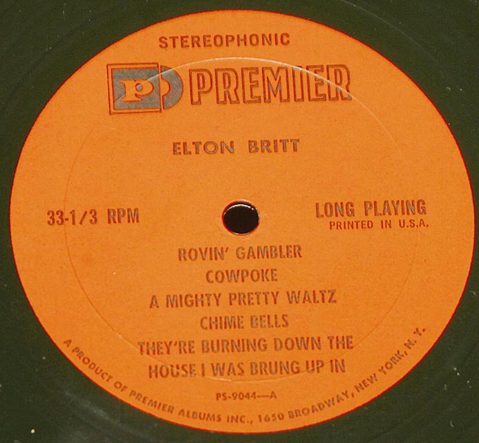 Elton Britt & Renfro Valley Pioneers   LP