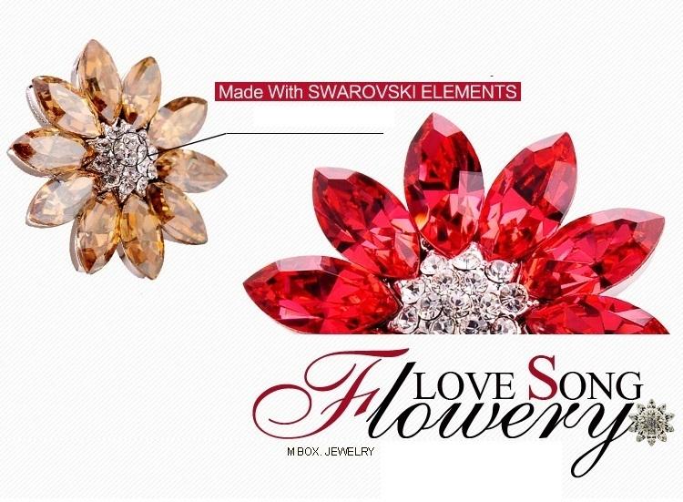Sun  Flower Four color choice Cristal pendant lace