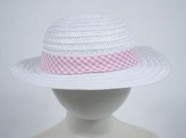 GIRLS 2 3 4  EASTER BONNET WIDE BRIM SUMMER HAT WHITE STRAW PINK GINGHAM... - $9.89