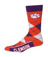 NCAA Clemson Tigers Argyle Unisex Crew Cut Socks - One Size Fits Most - $10.95
