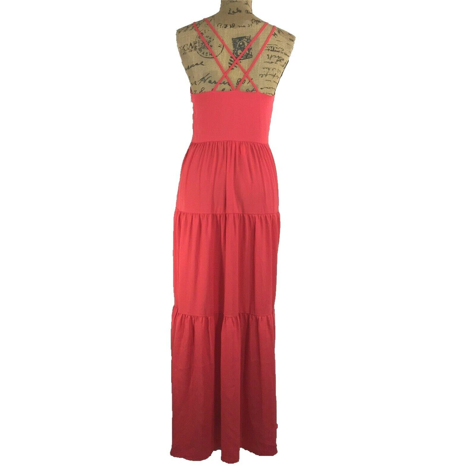 NWT Ann Taylor LOFT Maxi Dress 4 Sm Red Long Tier Strappy Open Back Sexy Party