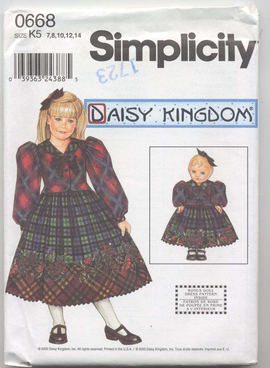"""Simplicity 0668 Daisy Kingdom Dress and Doll Dress for 18"""" D"""