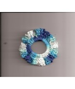 Blue White Crochet Ponytail Hair Scrunchie Handcrafted  - $2.50