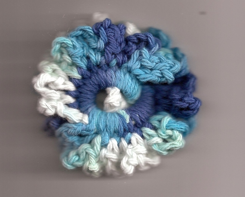 Blue White Crochet Ponytail Hair Scrunchie Handcrafted
