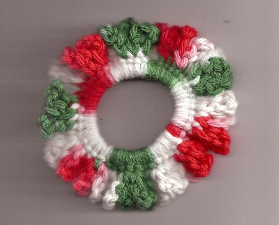 Red Green White Crochet Ponytail Scrunchie Handcrafted