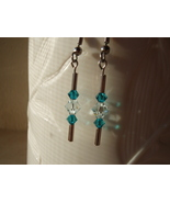 Mod Aqua Swarovski Crystal Dangle Earrings  - $5.95