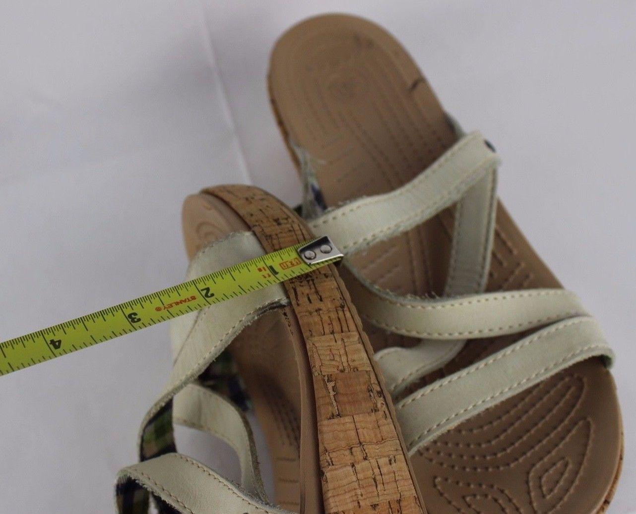Crocs wedge women's sandals strappy leather cork slides beige size 11