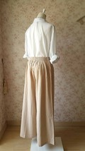 Khaki High Waisted Plus Size Linen Wide Leg Pants Women Crop Palazzo Pants NWT image 5