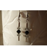 Mod Jet Black Swarovski Crystal Dangle Earrings  - $5.95