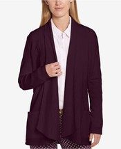 Tommy Hilfiger Love Story Ribbed Draped Cardigan Sweater, Eggplant Purple - $49.00
