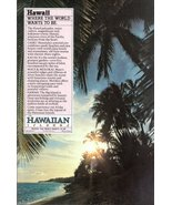 1979 Hawaii Islands beach coconut trees sunset print ad - $10.00
