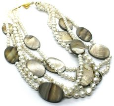 18K YELLOW GOLD 5 WIRES MULTI STRAND NECKLACE OVAL MOTHER OF PEARL, WHITE PEARLS image 3