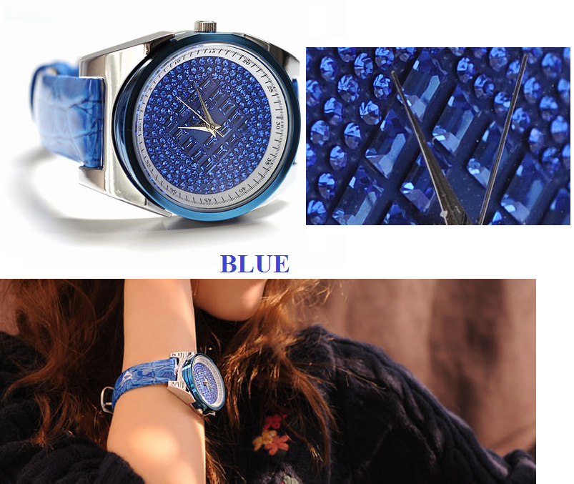 Three Color fashion woman quartz watch with leather watch ba