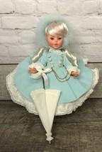 """VTG Furga Doll 38 Elisabetta 6093 Blue Hoop Skirt Petticoat Umbrella 15"""" - $106.03"""