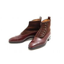 Handmade Men's Two Tone Leather Buttons Boot image 1