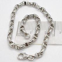 White Gold Bracelet 18k 750 Knitted Stud Made in Italy 21 cm long image 3