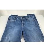 Old Navy Women 10 Jeans Super Skinny Built In Sculpt Whiskered Blue Raw Hem - $15.88