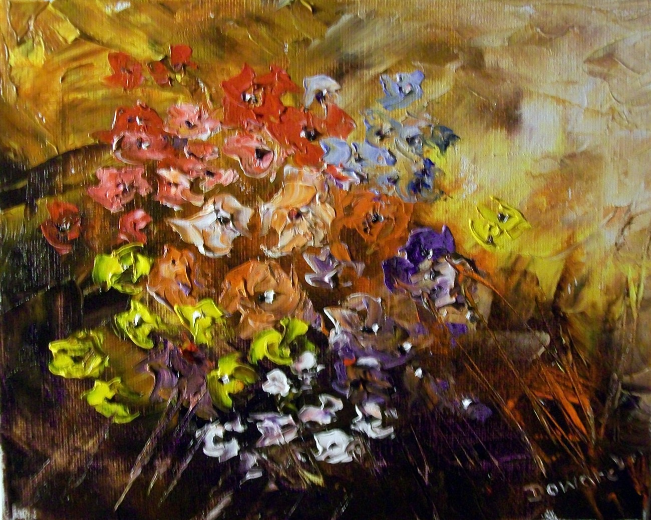 Primary image for Original Modern Palette Knife Oil Floral Painting