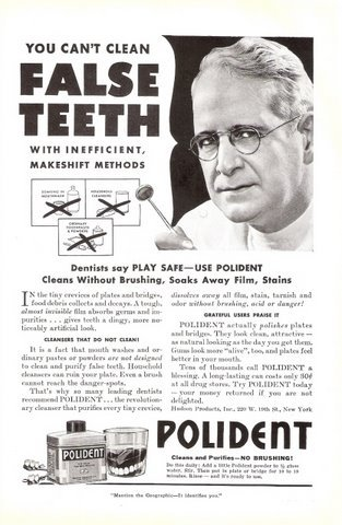1941 Pollident False Teeth Cleanser purifies print ad