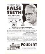 1941 Pollident False Teeth Cleanser purifies print ad - $10.00
