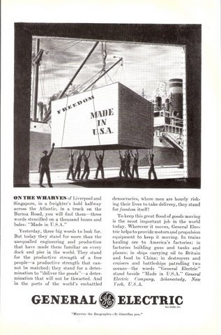 1941 General Electric Industrial services wharves print ad
