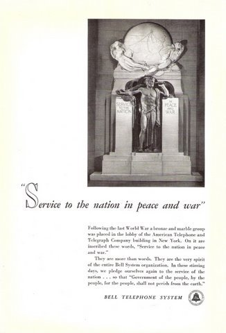 1942 Bell Telephone System National Service print ad