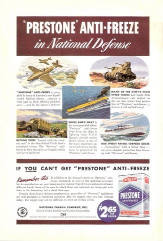 1941 Eveready Prestone Anti-Freeze Military print ad
