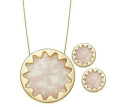 House of Harlow Gold-Tone Pink Starburst Pendant Necklace / Stud Earring... - $65.28