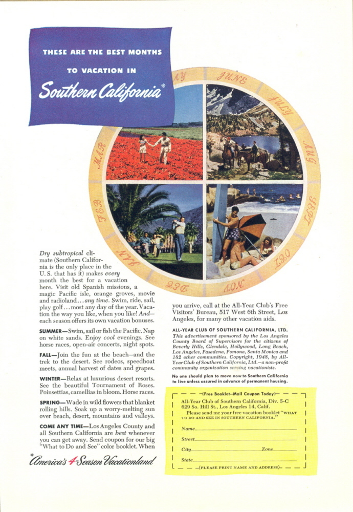 1948 Southern California America 4 season vacation ad