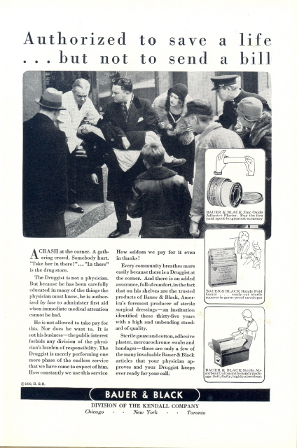 1930 Baure & Black sterile surgical dressings print ad
