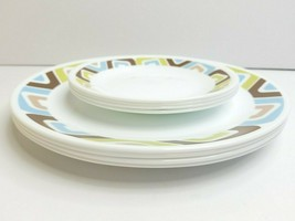 "Corelle Squared Geometric Pattern (4) 10 1/4"" Dinner (4) 6 3/4"" Bread Set Plates - $59.07"