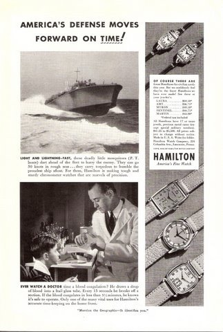 1942 Hamilton watch P.T. Boats Boy & doctor print ad