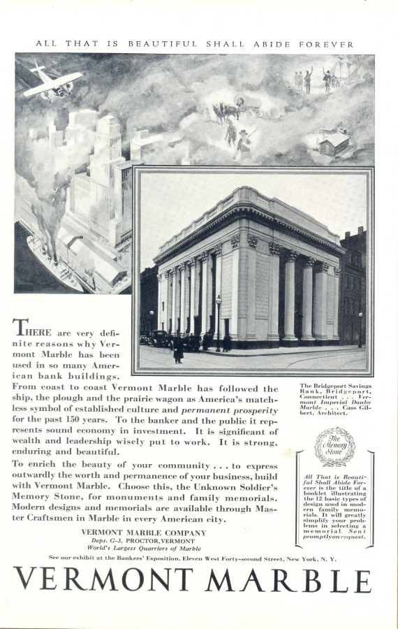 1930 Vermont Marble Bridgeport Savings Bank Print Ad