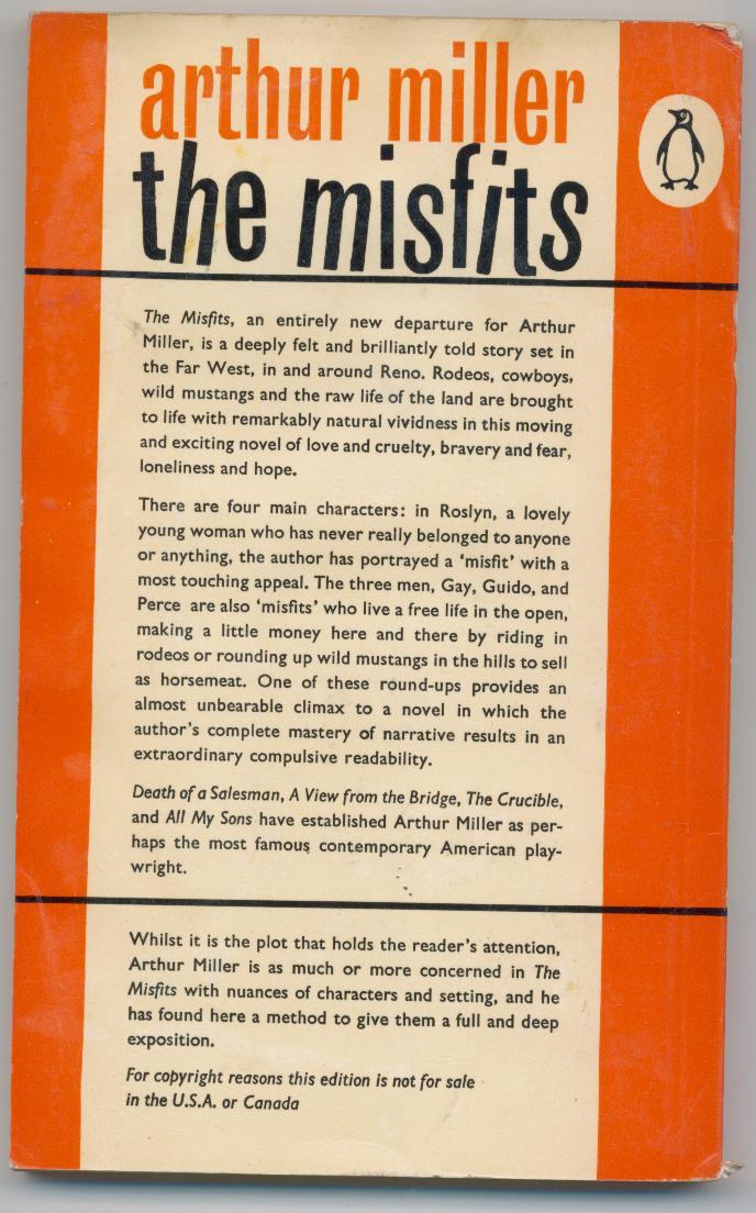 Arthur Miller - THE MISFITS - 1961- British movie tie-in - Monroe/Gable on cover