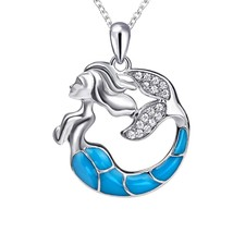 S925 Sterling Silver Fairy tale Magical Enamel Mermaid Necklace Pendant - $79.86
