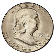 1953-S Franklin 50C Choice BU, Excellent Eye Appeal, Full Mint Luster - $39.59