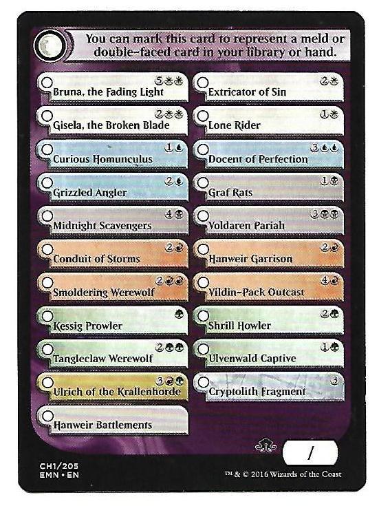 MagicThe Gathering MTG Eldritch Moon Checklist Card CH1 / 205 - 2016 - $1.99