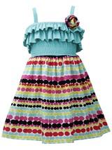 Bonnie Jean Little Girl 2T-4T Aqua-blue Multi Ruffle Knit To Dots-in-a-row Print