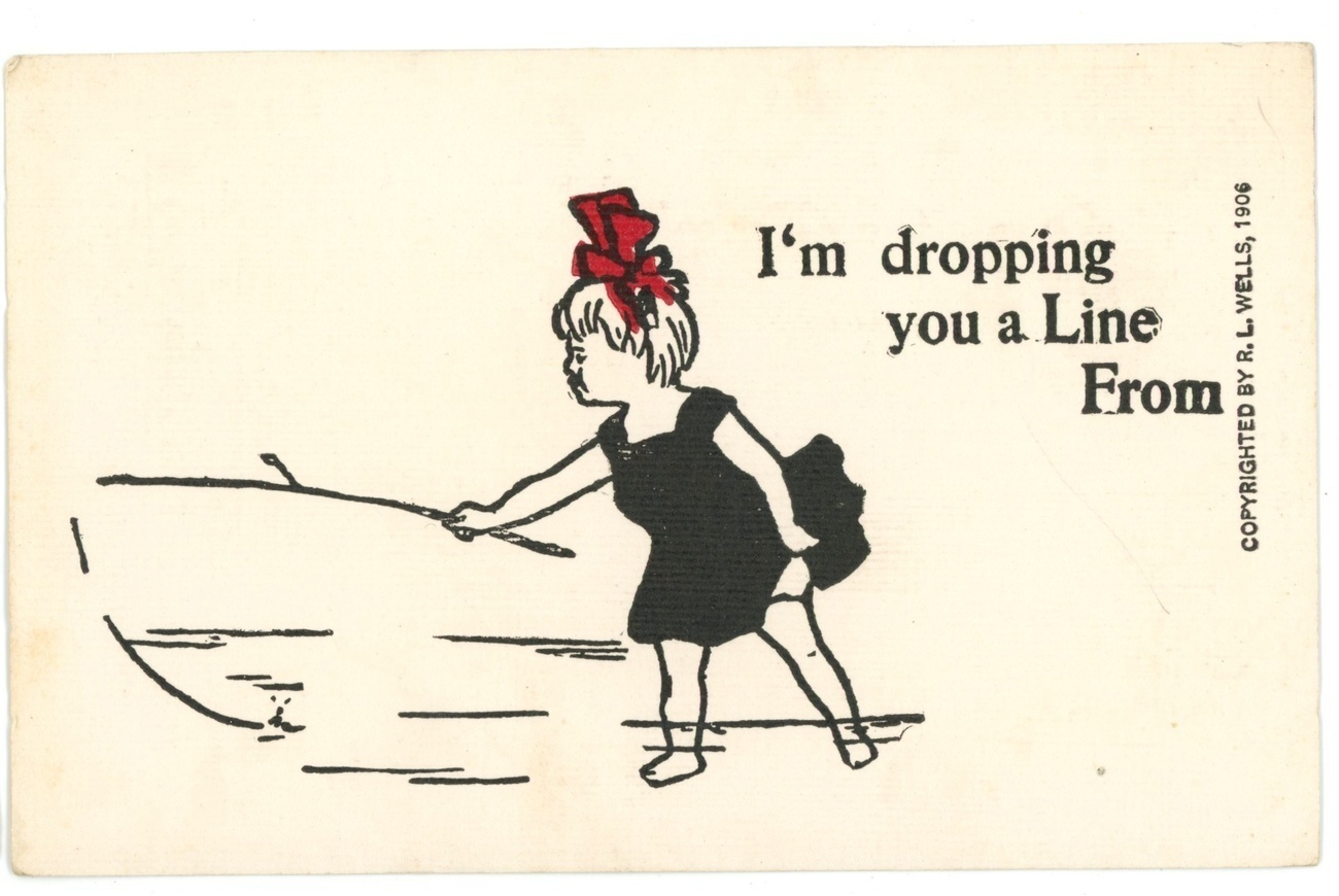 I'm dropping you a line comic vintage postcard Wells signed 1906 unused