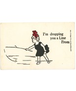 I'm dropping you a line comic vintage postcard Wells signed 1906 unused - $6.00