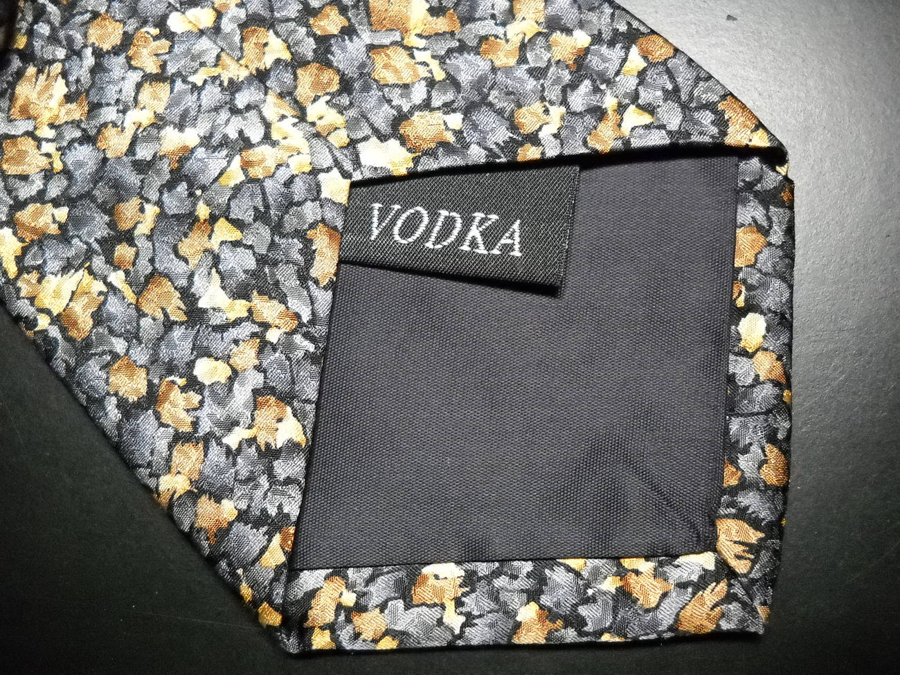 Stonehenge Cocktail Collection Neck Tie Vodka Mottled Grays Browns Golds Black