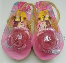 Disney Store Princess Belle Flip Flops Sandals Size M 7/8 Jelly Straps Pink - $12.60