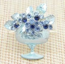 Blue Rhinestone Flower Pot Pin Brooch Vintage - $24.74