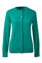 Lands End  Women's LS Supima Crew Cardigan Sweater Aqua Green New - $29.99