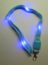 LED Blinking Light Up BLUE LANYARD KEY CHAIN Ring Keychain ID Holder NEW - $14.99