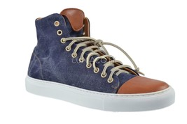 Kenneth Cole Mens Good Sport Navy High Top Fashion Sneakers  - $77.99